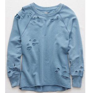 Aerie Distressed City Sweatshirt Washed Blue